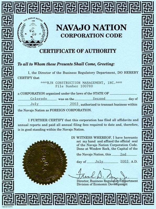Certifications & Accreditations - RJN CONSTRUCTION MANAGEMENT, INC.